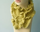 Yellow Winter Accessories - Organic Cotton Crocheted  Scarf  with Flower Pin, Very Soft