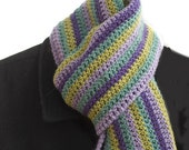 Crocheted Striped Scarf, Wool,  Warm, Long, Purple, Aqua, Gold, Green, Ready to Ship