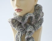 Gray Ruffled Scarf, Hand Knit in Soft Shades of Grey and White, Ruffle Clothing, Fall Fashion, Ready to Ship