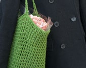 Green Market Tote Bag, Boho  Bag, Slouchy Tote,  Crochet  Tote, Autumn Fall Bag, Ready to Ship