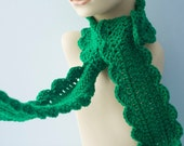 Emerald Green Ruffle  Scarf, Long Crochet Scarf, Wool, Emerald Fashion