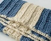Sale 25% off, Organic Cotton Baby Blanket,   Blue Shower Gift Boy