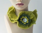 Ruffled Neck Warmer, Chartreuse,  Ruffle Cowl, Flower Neckwarmer Collar,  Ruffle Clothing,
