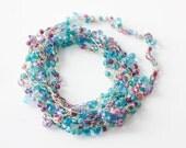 Wrap Bracelet,  Boho Necklace, Crochet,  Turquoise, Purple