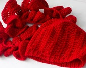Woman's Hat Scarf Set, Crochet Slouchy Beanie and  Ruffled Scarf, Red Scarf, Warm Winter Set