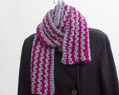 Crocheted Striped Scarf,  Gray Scarf,   Raspberry Scarf, Alpaca, Magenta Scarf, Ready to Ship