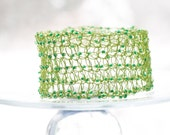 Crocheted Wire Cuff Bracelet, Chartreuse Green Beads. Lace Fashion, Lace Jewelry