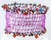 Purple Magenta Crocheted Wire Cuff Bracelet,  Bead Crystal Bracelet