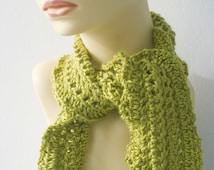 Crocheted  Ruffled Scarf,  Gold Green Woman's Spring Scarf, Bamboo, Angora, Wool Ruffle Scarf, Ready to Ship