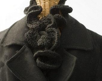 Black Ruffled Scarf, Hand Knit Scarf,  Women's Scarf, Ruffle Winter Scarf