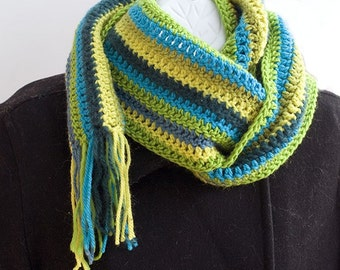 Sale, Striped Crocheted  Scarf, Wool Scarf, Multicolor Stripes  Green Yellow Turquoise, , Ready to Ship