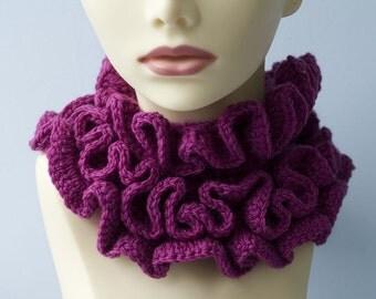 Triple Ruffled Cowl Scarf, Hand Crochet, Raspberry Ruffle Scarf, Fashion Scarf, Vegan Scarf