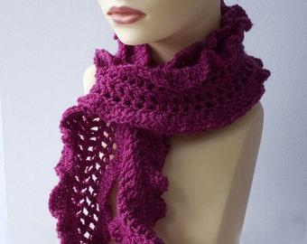 Ruffled Scarf, Hand Crochet Scarf, Raspberry, Magenta Scarf, Vegan  Scarf