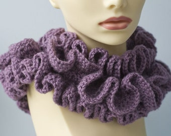 Crocheted Cowl, Purple Ruffle Collar, Ruffled  Neck Warmer, Lilac, Violet,  Purple Woman's Scarf, Ready to Ship