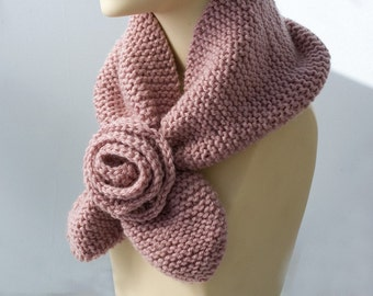 Pink Keyhole Scarf Flower, Knit  Neck Warmer, Self Tying Scarf,  Stay in Place Scarf