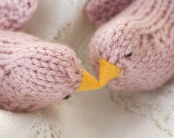 Hand Knit Pink Love Birds, Cake Toppers, Bridal Shower, Wedding Decor, Bird Toy, Bird Shower Favor
