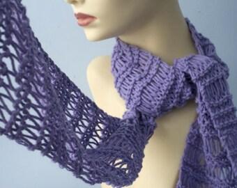 Hand Knit Cotton Scarf, Spring Scarf, Lavender Purple Pastel Scarf , Spring Scarf, Lace Scarf, All Season Fashion Scarf, Evening Scarf