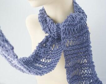 Knit Cotton Scarf, All Season  Scarf, Soft Denim Blue,  Lace Scarf, Fashion Scarf, Evening Scarf, Long Scarf