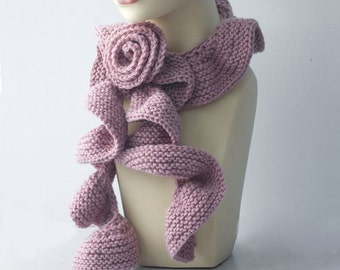 Pink Ruffle Scarf with Flower Scarf Pin,   Hand Knit Ruffled Scarf