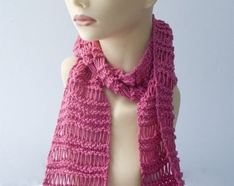 Hot Pink Scarf,  Cotton Scarf, All Season Lace Scarf, Light Weight Scarf, Evening Scarf, Women's Scarf