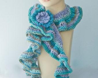 Knit Ruffled Scarf,  Flower Scarf Pin,  Turquoise, Aqua, Purple, Ruffle Scarf,