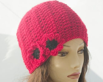Red Poppy Cloche Hat, Red Beanie, Flower Hat, Winter Hat, Women's Hat,  Hand Crocheted Hat, Fashion Flower Cap, Warm Hat