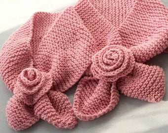Mother  Daughter Matching Set Pink Knit Scarf, Keyhole Scarf with Flowers,  Girl 4-10 years old, Vegan