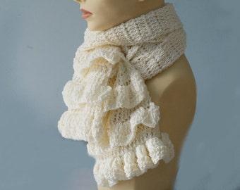Hand Crocheted Ruffle Scarf, White Scarf, Ruffled Scarf, Woman's Scarf,