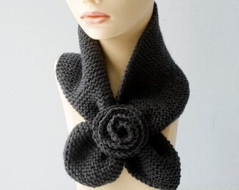 Knit Neckwarmer, Flower Key Hole Scarf,  Gray Stay in Place Scarf,  Self Tying Scarf,  Cowl Scarf