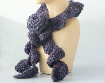 Knit Ruffle Scarf. Rose Scarf Pin, Dark Purple Ruffled Scarf, Ruffle Neck Warmer, Womens Scarf, Ready to Ship