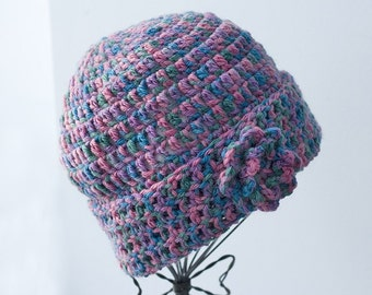 Hand Crocheted Hat, Flower Cloche, Very Warm Wool Winter Accessories, Multicolor Blues and Pinks, Ready to Ship