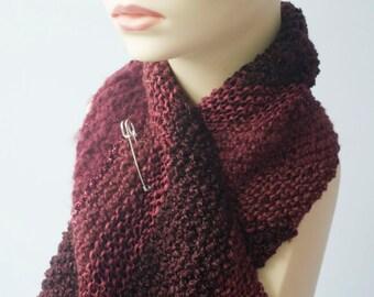 Hand Knit Scarf, Diagonal Texture Stripes, Scarf Pin, Burgundy Fall Fashion, Dark Raspberry, Ready to Ship