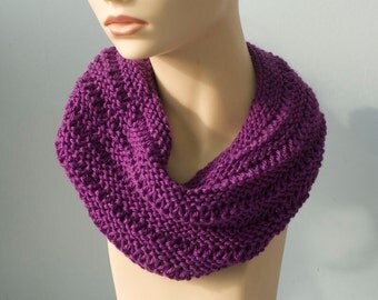 Infinity scarf, Knit  Cowl Scarf,  Bamboo Wool Purple  Neck Warmer Hood, Circle Scarf, Womens Gift, Ready to Ship