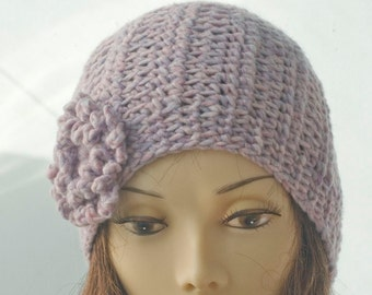Winter Hat, Purple Beanie, Womens Hat, Flower Cloche Hat, Hand Crocheted Hat,  Warm Hat, Pink Purple Hat, Ready to Ship