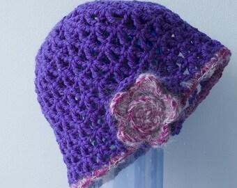 SALE, Crocheted Wool Cloche , Purple Flower Hat, Autumn Hat, Crochet Hat, Ready to Ship