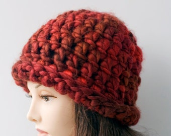 Woman's Soft Chunky Hat,  Crocheted  Hat, Warm Winter Cap,  Red Orange Hat,   Rolled Brim, Ready to Ship