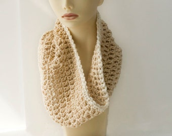 Organic Cotton Crocheted  Cowl, Infinity Scarf,  Neck Warmer with Scarf Pin,  Cream Circle Scarf, Very Soft, Ready to Ship