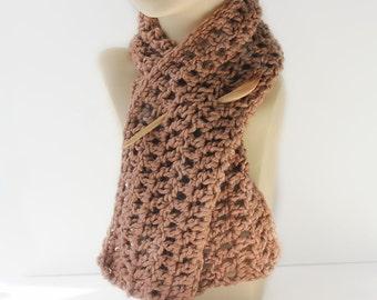 Organic Cotton  Scarf, Carmel Light  Brown Eco Friendly Scarf,  Crocheted  Scarflette, Neck Warmer