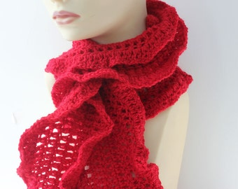 Crocheted Ruffle Scarf, Red Wool Ruffle Scarf, Made to Order, Woman's Scarf, Winter Scarf