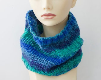 Hand Knit  Neck Warmer, Cowl Scarf,  Blue, Aqua Striped Vegan Neckwarmer, winter accessories, Ready to Ship
