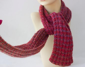 SALE, Hand Knit Scarf,  Multi Red Scarf, Wool Scarf, Long Scarf, Winter Scarf, Ready to Ship