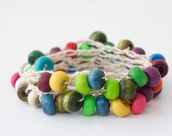 Crochet Wrap Necklace,  Stackable Bracelet, Anklet, Long Necklace, Boho Jewelry, Summer Jewelry