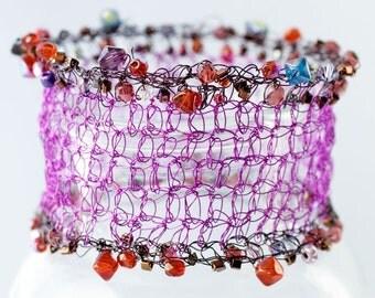 Purple Magenta Crocheted Wire Cuff Bracelet,  Bead Crystal Bracelet