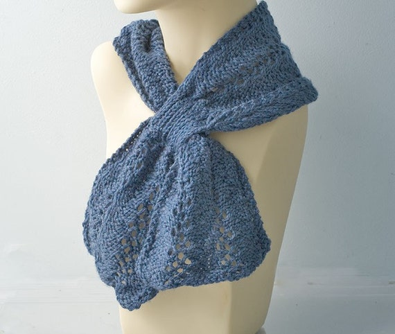 lace keyhole scarf soft blue wool handcrafted by beadedwire