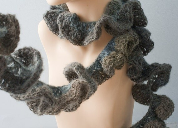 Gray Ruffled Scarf, Hand Crocheted Grey Ruffle Clothing, Fall Fashion