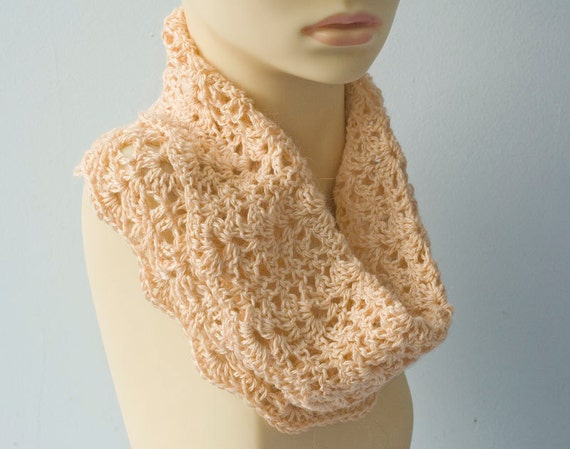 Crocheted Cowl Scarf, Womans  Lace Infinity Scarf, Peach Silk  Alpaca Circle Scarf,  Neck Warmer, Woman's Scarf
