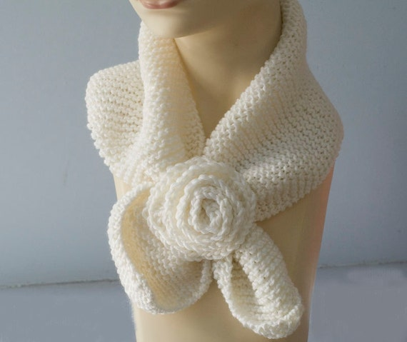 White Knit Neckwarmer,  Keyhole Scarf, Wool Self Tying Scarf, Stay in Place Scarf, Neck Warmer Cowl, Ready to Ship