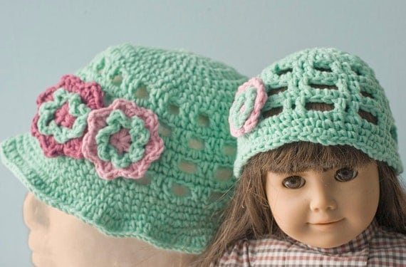 Sale 25% off Matching Set Girl and Doll Hats, Spring Hat,  Summer  Hat,  Child's Cotton Hat, Flower  Hat, Mint