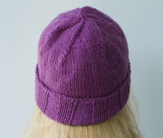 Soft Purple Wool Hat, Hand  Knit Beanie, Raspberry Mauve