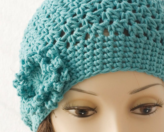 Floral  Slouchy Hat  Cotton,  Soft Turquoise Spring Beanie,  Crocheted Flower Cloche, Pastel All Season